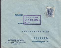 Spain D. LÓPEZ BORGES Santa Cruz De TENERIFE Islas Canarias 1925 Cover Letra HAMBURG Germany Alphonse XIII. - 1889-1931 Reino: Alfonso XIII