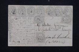 FRANCE - Affranchissement Blanc 10 Exemplaires Sur Carte Postale , Annulation De Facteur - L 23174 - Marcophilie (Lettres)
