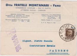 Italy 1933 Cartolina Postale Da Fano A Palermo - Used