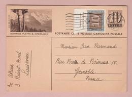 Ganzsache 10Rp Mit 10Rp Pax Zusatz Lausanne 26.04.1945 Bildpostkarte Schnydige Platte - Entiers Postaux