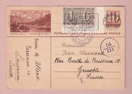 Zensur Ganzsache 10Rp Mit 10Rp Centenarium Zusatz Lausanne 12.04.1943 Bildpostkarte Brienz - Entiers Postaux
