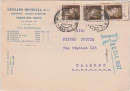Italy 1937 Raccomandata Da Napoli Per Palermo - 1900-44 Vittorio Emanuele III