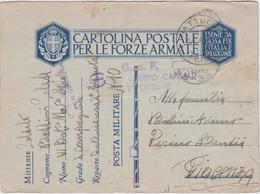 Italy 1940 Posta Militare No 10 Cartolina Postale Per Le Forze Armate - 1900-44 Vittorio Emanuele III