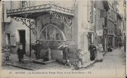 MENDE : La Fontaine De La Vierge Noire Et Rue Notre Dame - Animé (1924) - Mende