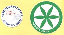 """Lotto Di 2 ADESIVI - LEGA NORD - Padania Libera + Convention Nationale Giovani Del Veneto """"C'ero Anch'io"""" - Adesivi"""