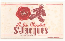"""Buvard ( 21 X 13 Cm ) """" Le Bon Chocolat Saint Jacques """" ( Rousseurs ) - Chocolat"""