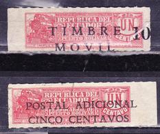 ECUADOR 1939 ADDITIONAL POSTAGE ON STEAM LOCOMOTIVE TOBACCO TAX + MOVIL TAX BOTH ERROR DISPLACED DOWN SC# RA44 - Ecuador