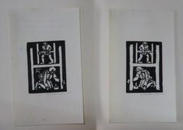2 Ex-libris Illustrés ALLEMAGNE XXème - HANNS HEEREN - Aux Initiales - Bookplates