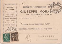 Italy 1941 Cartolina Postale Da Martina Franca A Barletta - 1900-44 Vittorio Emanuele III