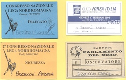 Lotto Di 4 Pass - Manifestazioni Politice LEGA NORD E Club Forza Italia - Congresso Nazionale E Parlamento Del Nord - Altre Collezioni