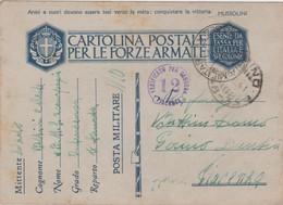 Italy 1941 Posta Militare No 10 Sez A Cartolina Postale Per Le Forze Armate - 1900-44 Vittorio Emanuele III