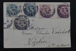 FRANCE - Affranchissement Tricolore Type Blanc Dont Millésimes Sur Enveloppe De Nancy Pour Vézelise En 1904 - L 23182 - Marcophilie (Lettres)