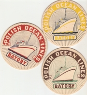 Lot De 3 Sous-bock, Polish Ocean Lines, TSS Batory, 60', Good Condition - Sous-bocks