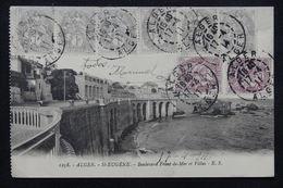 FRANCE - Affranchissement Type Blanc En Multiple Sur Carte Postale D 'Alger En 1911 Pour Madrid - L 23183 - Marcophilie (Lettres)
