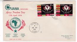 M432 Ghana Premier Jour Recommandée Registered Letter FDC Accra 1959 Afrique Journée De La Liberté Africa Freedom Day - Ghana (1957-...)