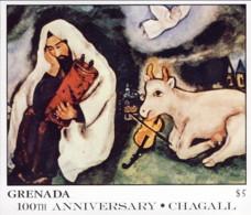 """1987-(MNH=**) Grenada Foglietto S.1v.""""quadri,opera Di Chagall"""" - Grenada (1974-...)"""