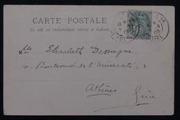 """FRANCE - Oblitération  """" Paris 96 Gd Hôtel """" Sur Type Blanc Sur Carte Postale En 1903 - L 23185 - Marcophilie (Lettres)"""