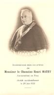 Faire-part De Décès Du Chanoine Henri Maury (+1955), Archiprêtre De Foix, Image Double Face, Bon état - Décès