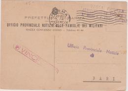 Italy 1943 Tassa Pagata Ufficio Notizie Alle Famiglie Dei Militari - 1900-44 Vittorio Emanuele III
