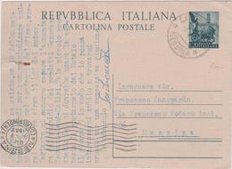 Italy 1952 Cartolina Postale Lire 20 From Castroreale To Messina - 6. 1946-.. Republic