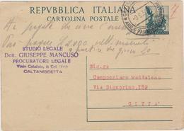 Italy 1952 Cartolina Postale Lire 20 - 6. 1946-.. Republic