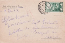 Italy 1953 Cartolina Postale Da Telese Per Napoli - 6. 1946-.. Republic