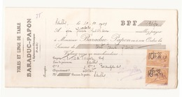 """Chèque Du 20 Octobre 1923 à Lailly """" Toiles Et Linge De Table Baraduc-Papon """" à Egliseneuve-d'Entraigues - Cheques & Traveler's Cheques"""