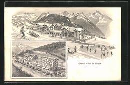 AK Gryon, Grand Hotel, Mehrfachansicht - VD Vaud