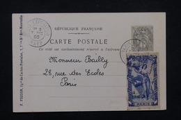 """FRANCE - Oblitération """" Paris Exposition Rapp """" Sur Type Blanc Et Vignette Sur Carte Postale En 1900 - L 23192 - Marcophilie (Lettres)"""