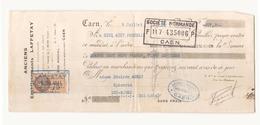 """Chèque Du 9 Juillet 1931 à Caen """" Etablissements Laffetay à Caen - Chèques & Chèques De Voyage"""