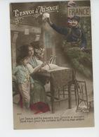"""GUERRE 1914-18 - Jolie Carte Fantaisie Femme Et Enfant Alsaciens Et Poilu """"L'ENVOI D'ALSACE """" - Guerre 1914-18"""