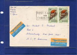 ##(DAN192)-POSTAL HISTORY-Kenya-Cover From Mombasa To USA, Cancel Without Year, 2 Nice East African By Air Mail Labels - Kenia (1963-...)