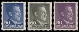 Polonia - Effige Di Hitler Tipo Del 1942 - Serie 3 Valori 50 / 60 / 80 G.- 1943 - Governo Generale