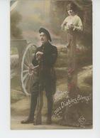 """GUERRE 1914-18 - Jolie Carte Fantaisie Femme Et Chasseur Alpin """"Gloire à Nos Diables Bleus """" - Guerre 1914-18"""