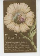 """GUERRE 1914-18 - Jolie Carte Fantaisie Femme Et Poilu Dans Marguerite """"Pour Ta Fête """" - Guerre 1914-18"""