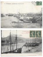 2 Cpa...Cherbourg...gare Maritime... Transbordeurs.....1908....// Bassin Du Commerce...1919..(navires Militaires).. - Cherbourg