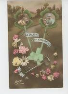 """GUERRE 1914-18 - Jolie Carte Fantaisie Femme Et Poilu Dans Trèfles """"LA CLEF DES CHAMPS """" - Guerre 1914-18"""