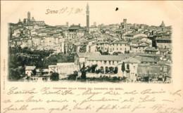 """1900-""""Siena-panorama Dalla Torre Del Convento Dei Servi""""affrancata 10c.,piccola Piega Angolare - Siena"""