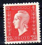 MARIANNE DE DULAC 1945 -   2,40F Rouge - N° 693** - 1944-45 Marianne De Dulac