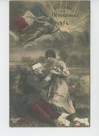 """GUERRE 1914-18 - Jolie Carte Fantaisie Femme Soignant Un Poilu Blessé """"GLOIRE ET DEVOUEMENT 1914"""" - Guerre 1914-18"""
