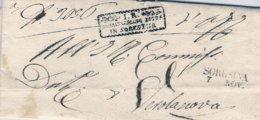 1847-prefilatelica Con Testo Annullo Lineare SORESINA+bollo Riquadrato Con Foglie I.R. Commissariato Distr.in Soresina - ...-1850 Préphilatélie