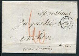 Frankreich / 1858 / Transit-Brief K2-Stempel PARIS Nach Wahlen/Schweiz, Rs. Diverse Stempel (10013) - France