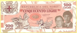 500 Leghe - Pseudo Banconote Della Repubblica Del Nord - 1993 - Gadget Politico - Lega Nord Bossi Umberto - Italia