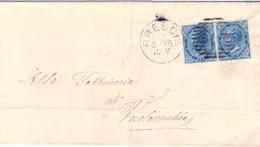 1876-coppia 20c.azzurro Vittorio Emanuele II Su Piego Annullo A Sbarre Di Brescia Cat.Sassone Euro 52.5 - 1861-78 Vittorio Emanuele II