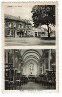 Ouffet - La Place / Intérieur De L'Eglise - 1959 - Edit. Multiphoto Flawinne - 2 Scans - Ouffet
