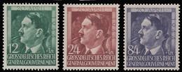 Polonia - Effige Di Hitler 55° Compleanno - Serie 3 Valori 12 / 24 / 84 G.- 1944 - Governo Generale