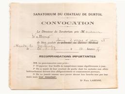 Convocation Du 26 Juillet 1932 Pour Le Sanatorium Du Chateau De Durtol - Vieux Papiers