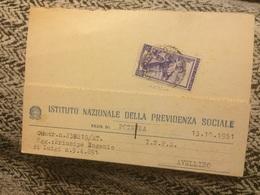 1951 Cartolina Inps Da Potenza Ad Avellino Italia Al Lavoro 20lire - 6. 1946-.. Repubblica