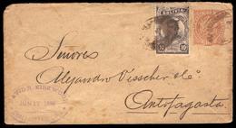 "BOLIVIA. 1899. Challapata To Antofagasta. 10c Brown Stationery Envelope + 10c Brown Adtl With Oval Sepia ""Ambulancia/Oru - Bolivia"
