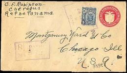 PANAMA. 1928. David To USA. Registered Stat Env + Adtl. Scarce. - Panama